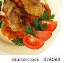 roast chicken and salad   Shutterstock . vector #376063