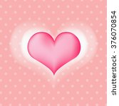 pink heart on polka dot... | Shutterstock .eps vector #376070854