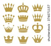 crown icons isolated on white... | Shutterstock .eps vector #376071157