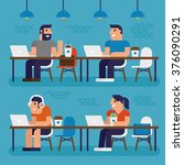 co working space  pixel perfect ... | Shutterstock .eps vector #376090291