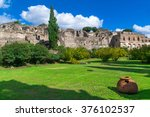view of pompeii  a ruined roman ... | Shutterstock . vector #376102537