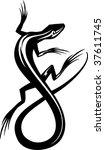 Vector Illustration Of A Lizar...