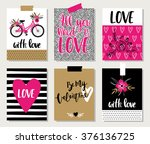 love collection with 6 cards.... | Shutterstock .eps vector #376136725