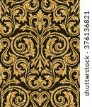 floral golden wallpaper   Shutterstock .eps vector #376136821