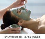 spa concept. young woman with...   Shutterstock . vector #376140685