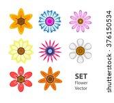 set color of vectorized flowers | Shutterstock .eps vector #376150534