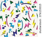 vector illustration of 80s or... | Shutterstock .eps vector #376153315