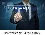 Small photo of Businessman hand touching EXPERT ADVICE button on virtual screen