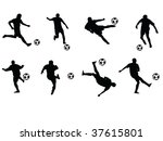 soccer players moves vector... | Shutterstock .eps vector #37615801