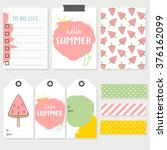 set of colorful cards  labels... | Shutterstock .eps vector #376162099