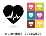 set of heartbeat icons  drawing ... | Shutterstock .eps vector #376162519