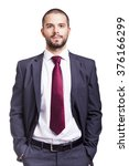 handsome smiling business man... | Shutterstock . vector #376166299