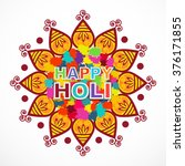 happy holi indian festival... | Shutterstock .eps vector #376171855