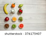 left 3 fruits columns banana ... | Shutterstock . vector #376175407