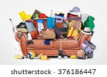 large leather sofa with a bunch ... | Shutterstock . vector #376186447
