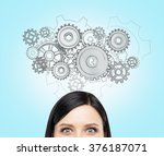 a young woman thinking about a... | Shutterstock . vector #376187071
