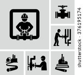 worker and pipeline vector... | Shutterstock .eps vector #376195174