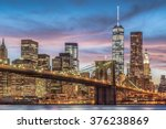 brooklyn bridge with sunset ... | Shutterstock . vector #376238869