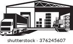 truck loaded goods in warehouse ... | Shutterstock .eps vector #376245607