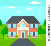 background of house with... | Shutterstock .eps vector #376255294