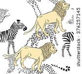 seamless pattern with savanna...   Shutterstock .eps vector #376257145