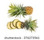 Pineapple With Slices On White...