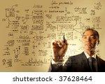 asian businessman drawing logistics illustration - stock photo