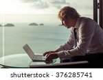 smart businessman is working on ... | Shutterstock . vector #376285741