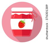 jam strawberry flat design | Shutterstock .eps vector #376301389
