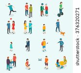 isometric people. set of woman... | Shutterstock . vector #376320271