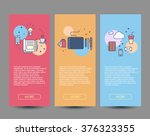 set of three flat designed... | Shutterstock .eps vector #376323355