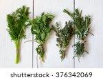 mixed fresh herbs  thyme dill ... | Shutterstock . vector #376342069