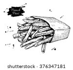 vector vintage french fries... | Shutterstock .eps vector #376347181