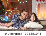 older brother with little... | Shutterstock . vector #376351045