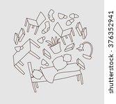furniture hand drawn pattern.... | Shutterstock .eps vector #376352941