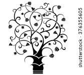 abstract art tree  black on... | Shutterstock .eps vector #376355605