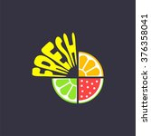 logo with pieces of fruits and... | Shutterstock .eps vector #376358041