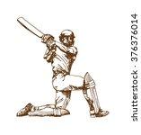 poss of hitting ball in cricket ... | Shutterstock .eps vector #376376014