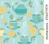 tea time seamless pattern with... | Shutterstock .eps vector #376377979