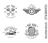 vector set of vintage hot rod... | Shutterstock .eps vector #376380451