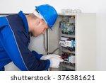 male technician examining... | Shutterstock . vector #376381621