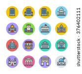 buildings icons | Shutterstock .eps vector #376402111