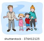 happy family  a hand drawn... | Shutterstock .eps vector #376412125