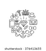 outline hipster icons | Shutterstock .eps vector #376413655