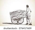 sketch of hawker with cart ... | Shutterstock .eps vector #376417609