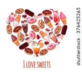 banner with different sweets in ... | Shutterstock .eps vector #376425265