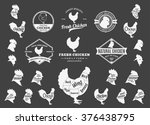 set of chicken logo. butchery... | Shutterstock .eps vector #376438795