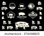 set of pork logo. butchery... | Shutterstock .eps vector #376438825
