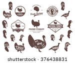 set of turkey logo. butchery... | Shutterstock .eps vector #376438831