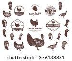 set of turkey logo. turkey cuts ... | Shutterstock .eps vector #376438831